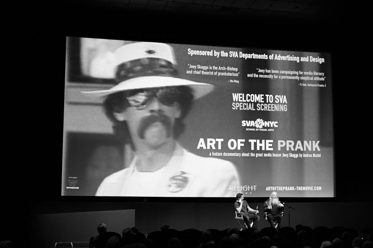 Filmmaker Andrea Marini with artist Joey Skaggs at the SVA Theatre screening of Art of the Prank, November 4, 2015