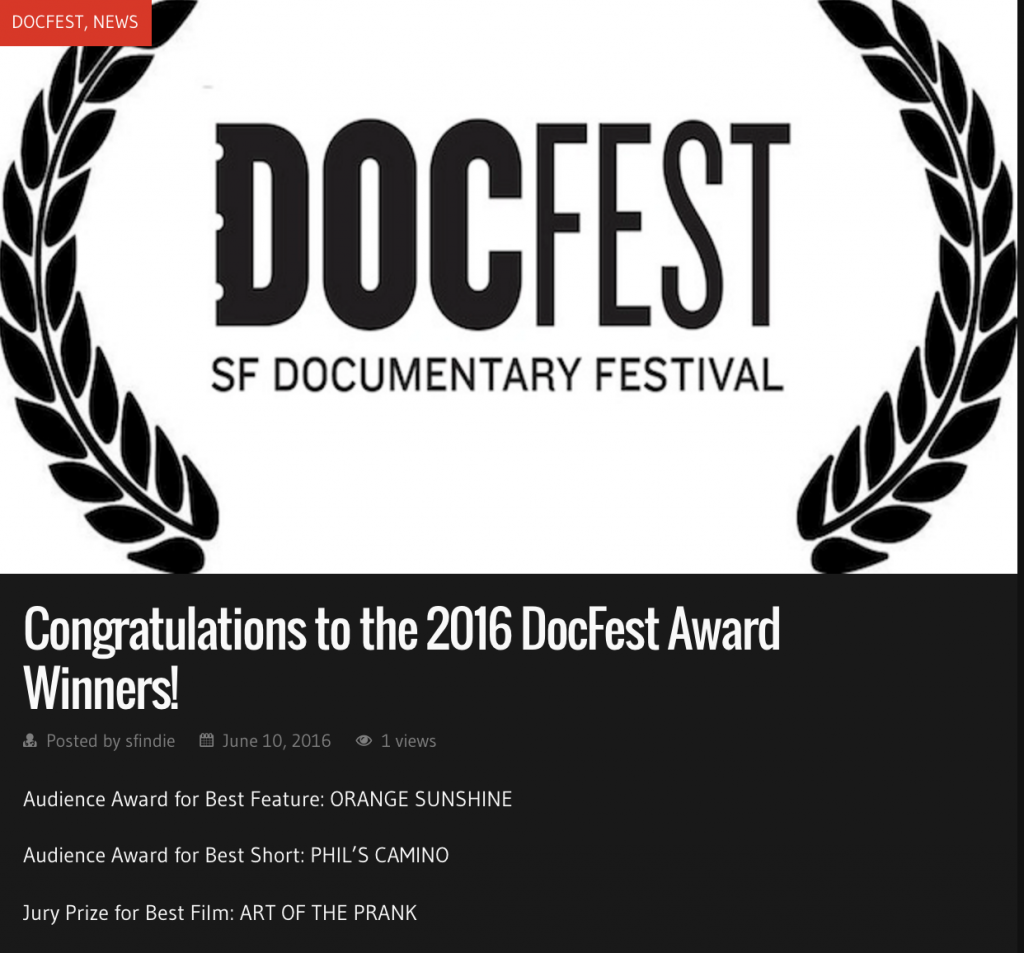 SFDocFest Award Screengrab